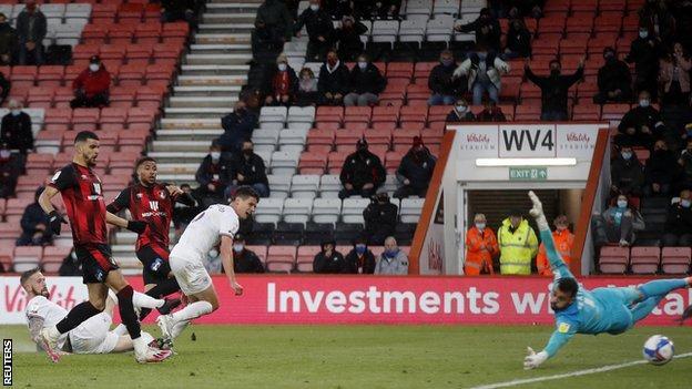 Arnaut Danjuma opens the scoring for Bournemouth against Brentford