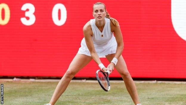 Petra Kvitova waits for a serve