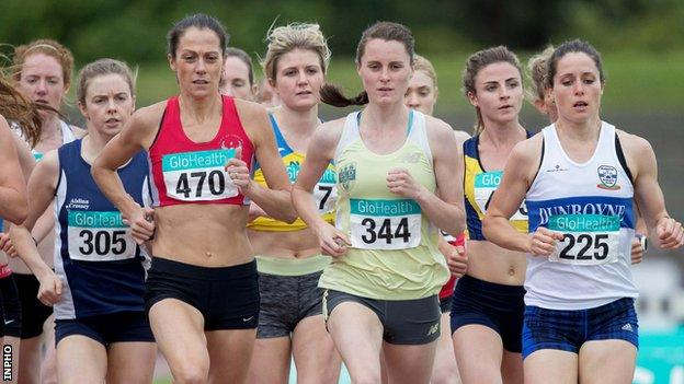 Ciara Mageean is tracked by Kelly Neely at Santry