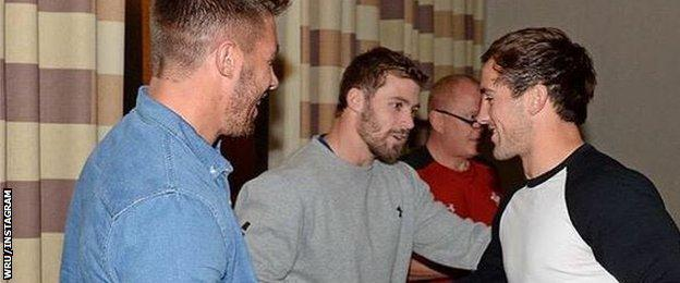 Leigh Halfpenny and Rhys Webb give match shirts to Matthew Morgan