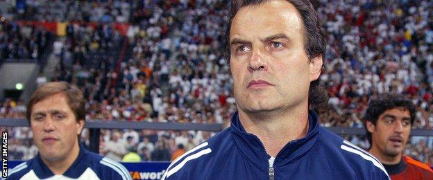 Marcelo Bielsa pictured in 2002 when manager of Argentina
