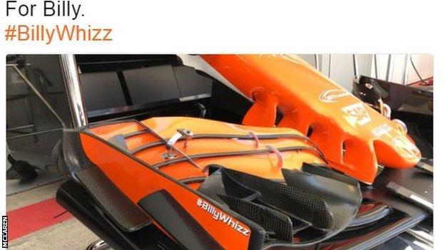 McLaren car with #BillyWhizz sticker