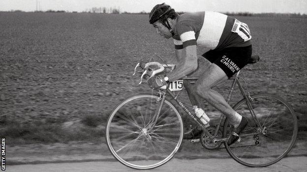 Former Italian cyclist Felice Gimondi riding in the 1969 Paris-Roubaix