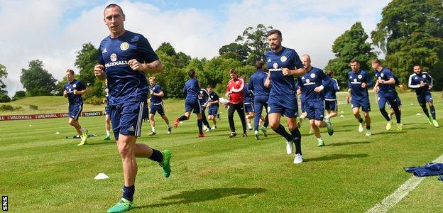 Celtic skipper Scott Brown leads from the front as the Scotland squad are put through their paces
