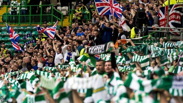 Celtic and Rangers fans at Celtic Park