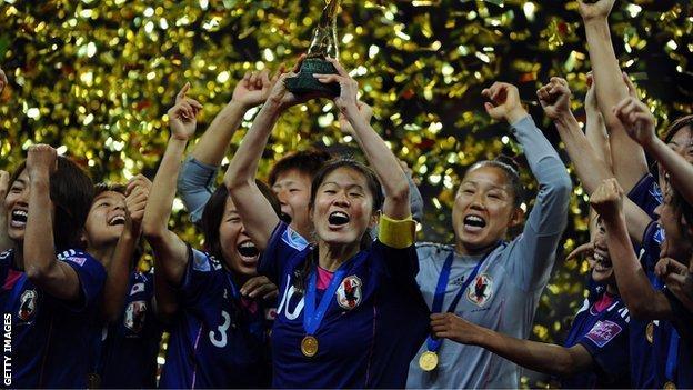 Japan celebrate winning the 2011 World Cup