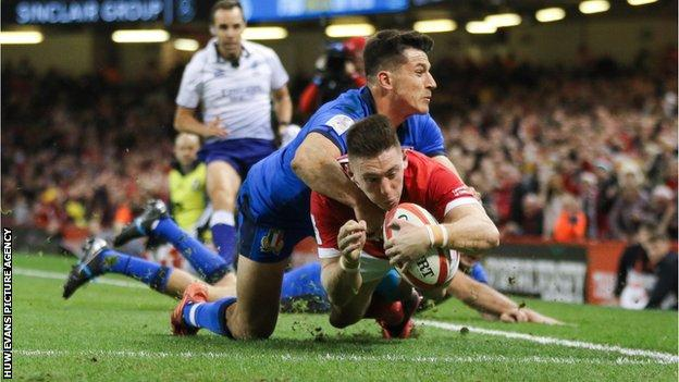Josh Adams has scored 14 tries in 23 Tests for Wales