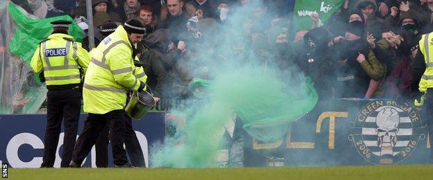Celtic fans let off flares