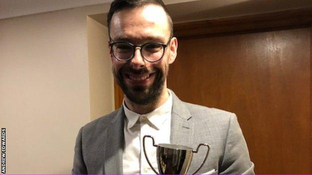 Andrew Edwards with the 'Dave Kelshaw Champagne Moment of the Season' trophy