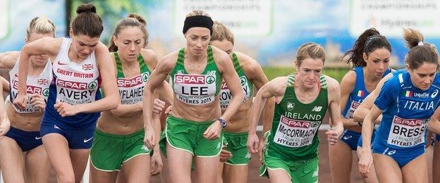 The Ireland team go off together at the start of the women's race in Hyeres