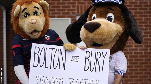 Mascots at Bolton and Bury