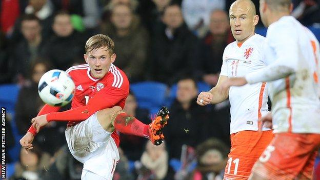 George Williams in action for Wales against Netherlands