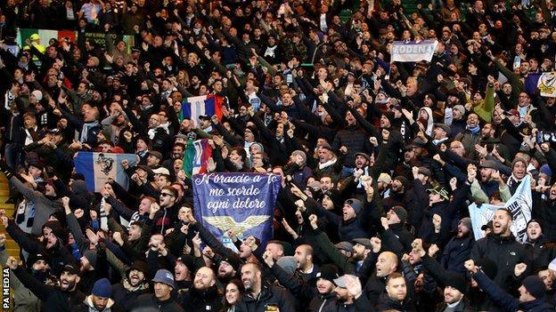 Lazio fans were pictured gesturing inside Celtic Park