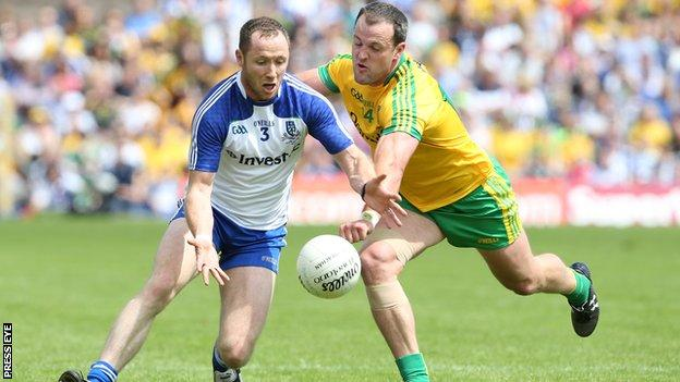 Vinny Corey is challenged by Michael Murphy at Clones