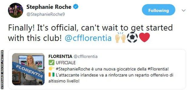 Stephanie Roche revealed news of her move to Florentia on Twitter