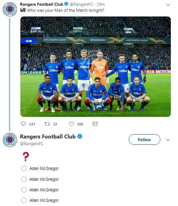 Rangers tweet