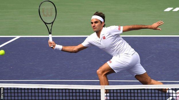 Roger Federer in action at Indian Wells