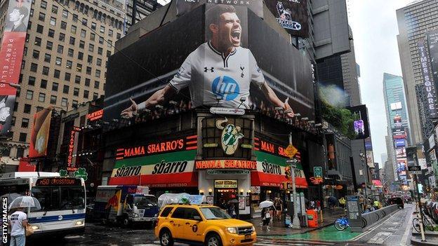 Gareth Bale on a Times Square billboard