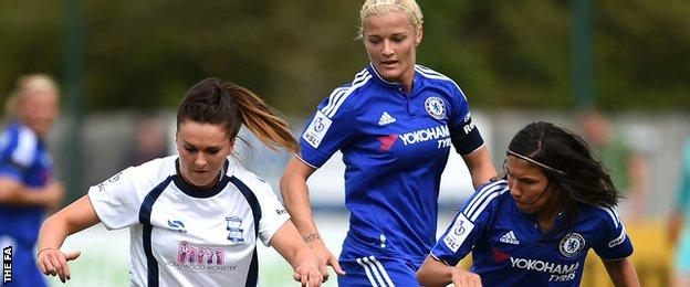 Ana Borges (r) looks to take the ball from Birmingham City's Melissa Lawley