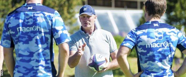 Vern Cotter dishes out instructions at Scotland training