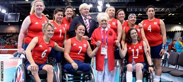 Wiggs with the London 2012 sitting volleyball team