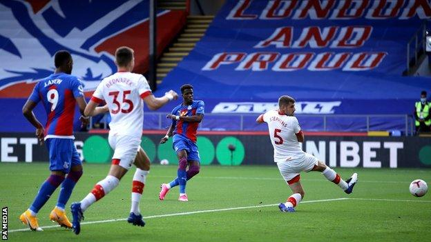 Wilfried Zaha scores for Crystal Palace against Southampton in the Premier League