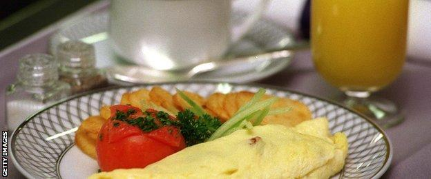 omelette, coffee and glass of orange juice