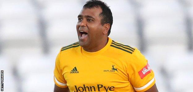 Samit Patel celebrates a wicket for Notts Outlaws