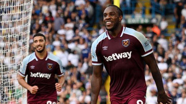 Michail Antonio celebrates scoring against Leeds