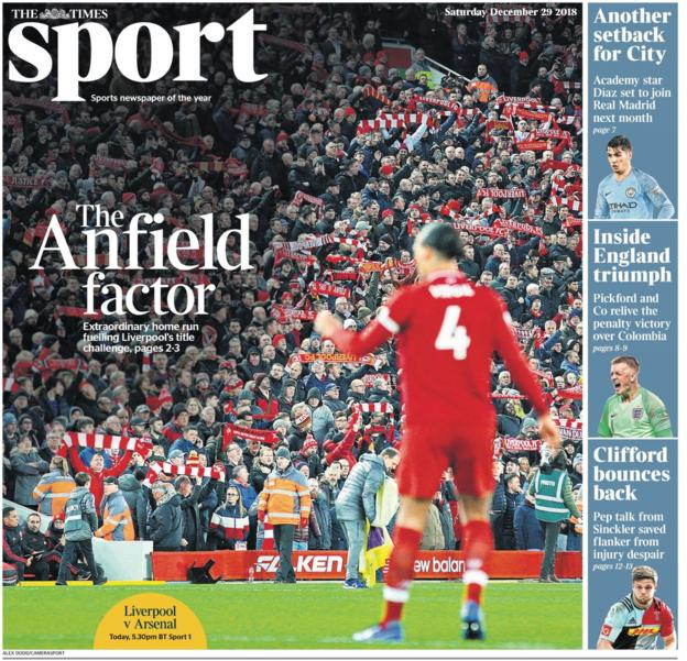 The front page of the Times sport supplement