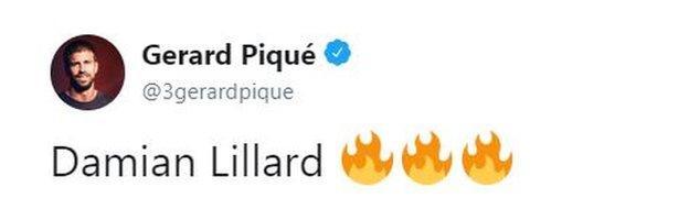Barcelona footballer Gerard Pique tweeted about Lillard's performance