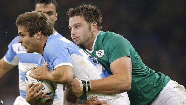 Action from the World Cup quarter-final between Ireland and Argentina