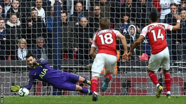 Tottenham goalkeeper Hugo Lloris in action against Arsenal