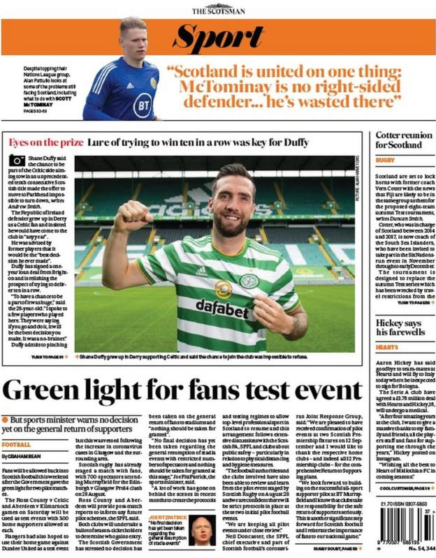 The back page of the Scotsman on 090920