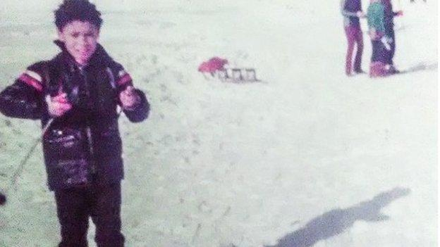 Phil on his first ski holiday in the Italian Alps