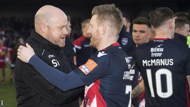 Ross County co-managers Steven Ferguson congratulates Michael Gardyne