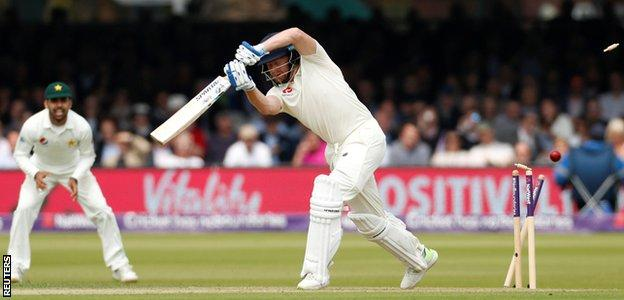 Jonny Bairstow is bowled for 27
