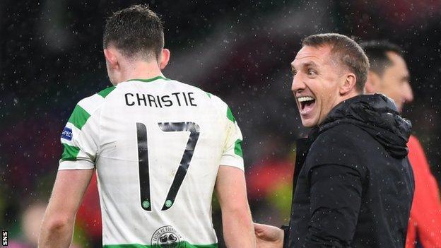 Celtic's Ryan Christie and Brendan Rodgers celebrate