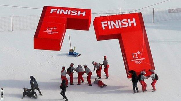 Winds at the giant slalom event