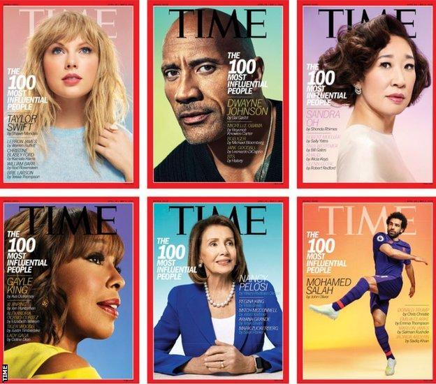Singer Taylor Swift, actor Dwayne 'The Rock' Johnson, actor Sandra Oh, TV news presenter Gayle King, US politician Nancy Pelosi and Liverpool striker Mohamed Salah