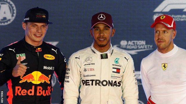 Max Verstappen (left), Lewis Hamilton (centre) and Sebastian Vettel