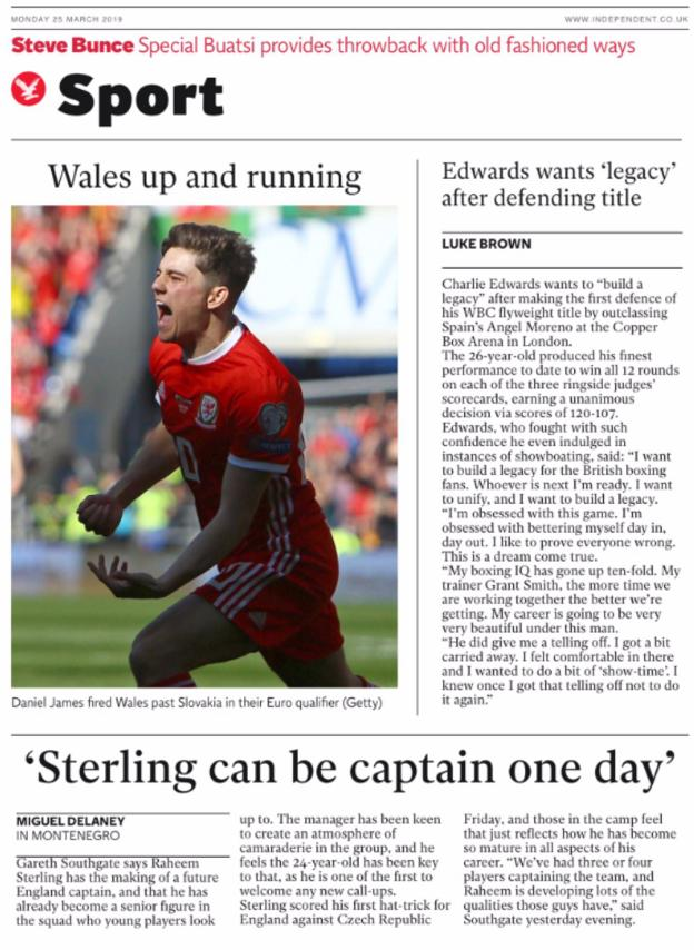 The Independent carry a story about Raheem Sterling one day captaining England
