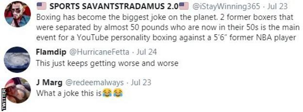 Boxing fans on Twitter react to the news that Jake Paul will fight Nate Robinson on the Mike Tyson v Roy Jones undercard. One fan says that boxing has become a joke
