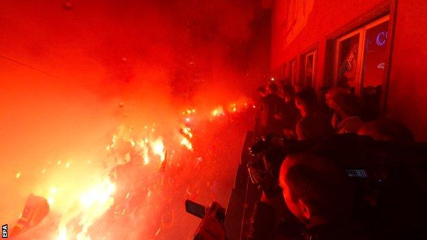Basel fans celebrate the title