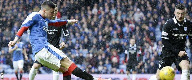 Michael O'Halloran scores for Rangers against Queen of the South