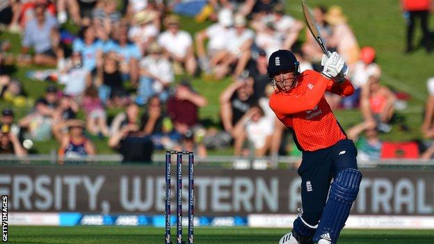 Tom Banton hitting a boundary playing for England in a Twenty20 international against New Zealand