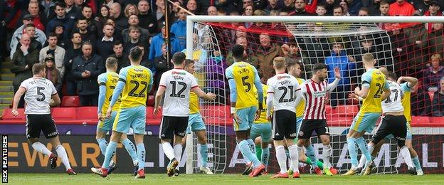 Jack O'Connell (far left) gives Sheffield United the lead at Bramall Lane