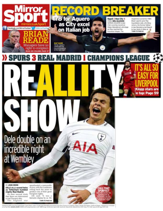 The Mirorr back page on Thursday