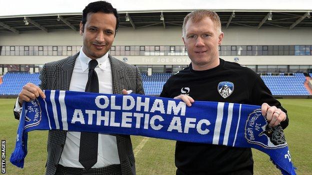 Oldham owner Abdallah Lemsagam at Paul Scholes' unveiling as manager