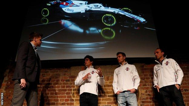 """Williams"""" Driver Lance Stroll, Driver Sergey Sirotkin and Reserve and Development Driver Robert Kubica"""
